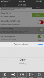 Auto Backup Contacts - Interval
