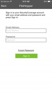 Existing user - enter credentials